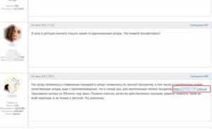 размещение ссылок на форумах - пример