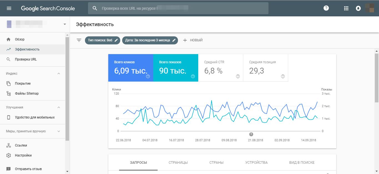 Новая версия Гугл Вебмастер (интерфейс)